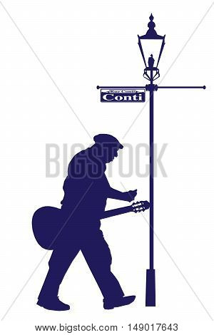Vector Conti Street Old Musician with Acoustic Guitar Silhouette