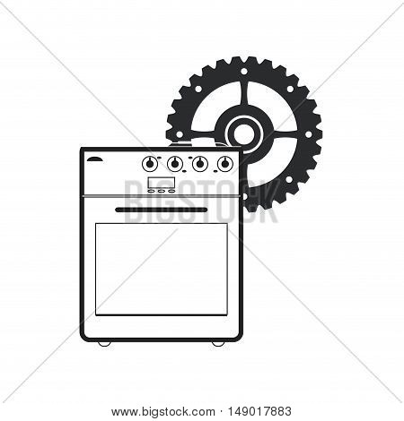 flat design oven and gear  icon vector illustration