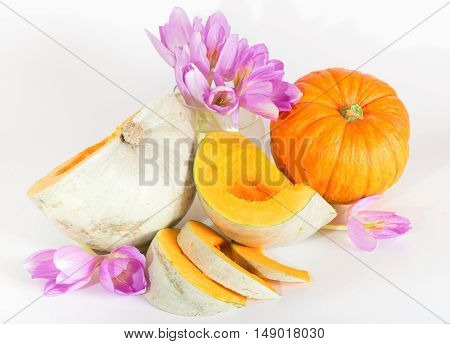Gray ripe pumpkin with orange pulp and violet flowers. A meadow saffron and the pumpkin cut by segments. Sharpness on a first line of pieces of pumpkin the small depth of sharpness