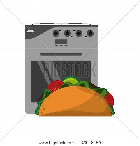 flat design oven and taco  icon vector illustration