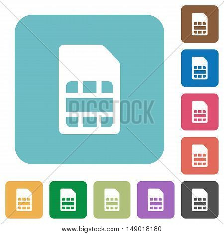 Flat SIM card icons on rounded square color backgrounds.