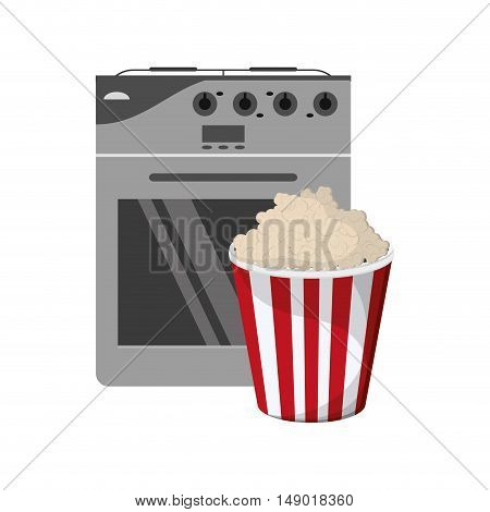 flat design oven and popcorn icon vector illustration