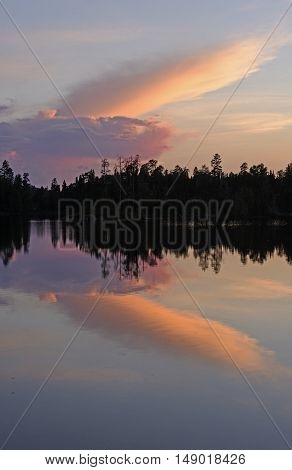 Unique Clouds at Sunset on Saganagons Lake in Quetico Provincial Park
