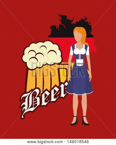 flat design germany oktoberfest beer icons image vector illustration