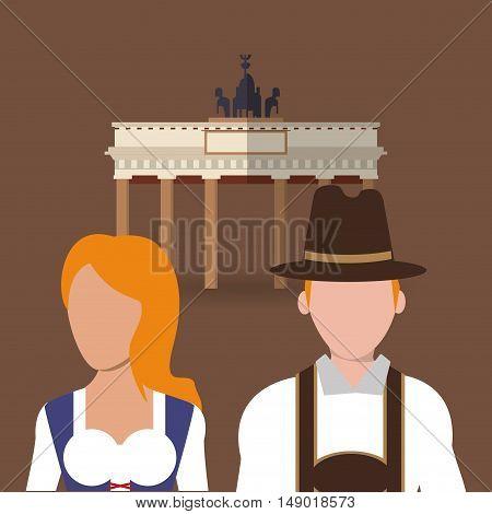flat design germany oktoberfest beer brandenburg gate icons image vector illustration