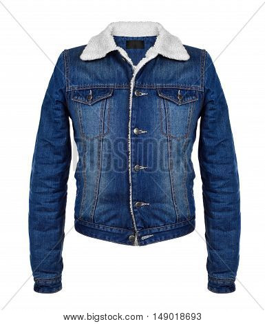 stylish denim jacket in the cool season on white background