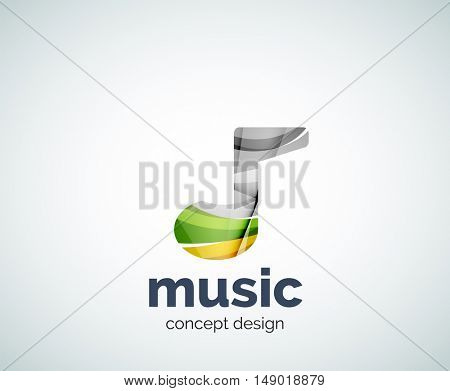 Music note logo template, abstract geometric glossy business icon