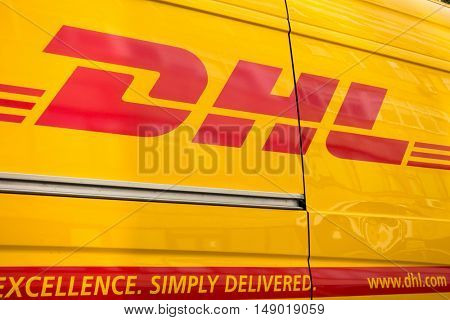 Vilnius, Lithuania - September 22, 2016: DHL logistic company sign on the delivery van at day time