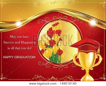 Happy Graduation greeting card. Print colors used