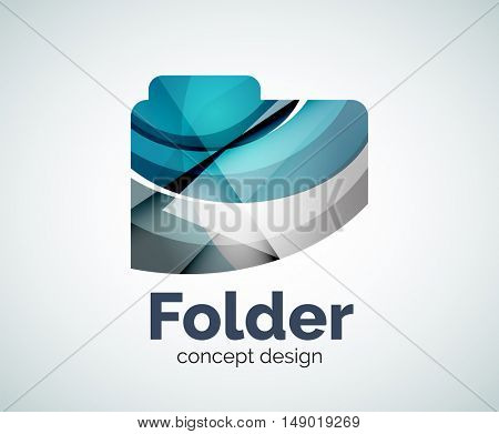 Computer folder logo template, abstract elegant glossy business icon