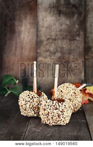 Three candy apples with nuts and caramel agaist a rustic wooden background. Shallow depth of field with selective focus on foreground.