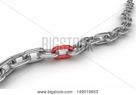 Chrome chain with one different red link This is a 3d rendered computer generated image. Isolated on white.