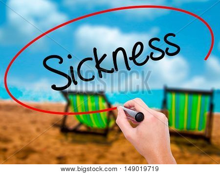 Man Hand Writing Sickness With Black Marker On Visual Screen