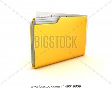 Yellow folder and documents This is a 3d rendered computer generated image. Isolated on white.