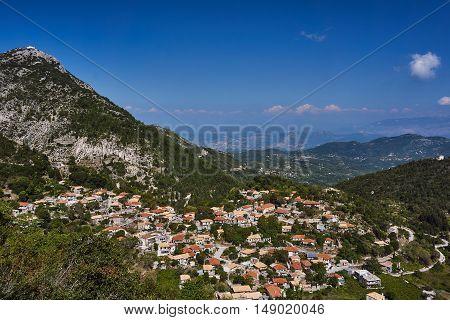 City Egklouvi on the mountainside on the island of Lefkada