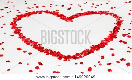 Romantic red rose flowers in heart shape among petals on white background. Wedding, Valentine's Day, love, Mother's Day etc concepts.