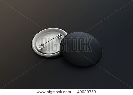 Blank black button badge stack mock up clipping path 3d rendering. Empty clear pin emblem mockup. Round plastic volunteer label. Vote sign design template. Campaigning badges display.