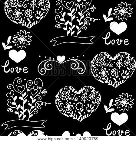 Hiqh quality pattern with hearts, flowers and other elemets