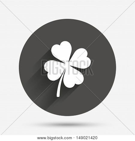 Clover with four leaves sign icon. Saint Patrick symbol. Circle flat button with shadow. Vector