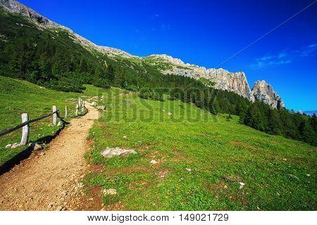 Sciliar mountain in Dolomite Alps. View from Alpe di Siusi Italy