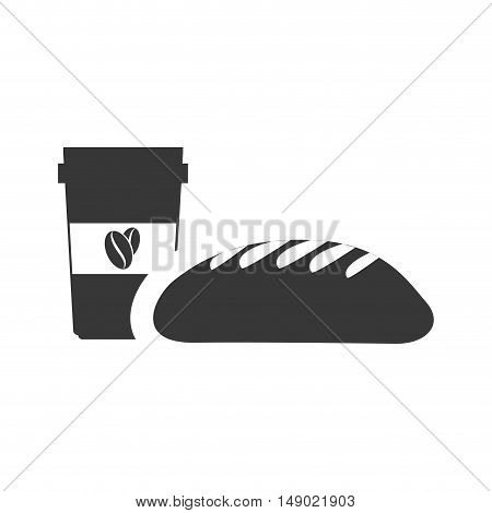 bread bakery food product with coffee cup icon silhouette. vector illustration