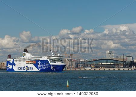 HELSINKI, FINLAND - AUGUST 20, 2016: Cruiseferry Finlandia of Eckero Line departs to Tallinn. Built in 2001, the ship has capacity for 2080 passengers and 610 cars