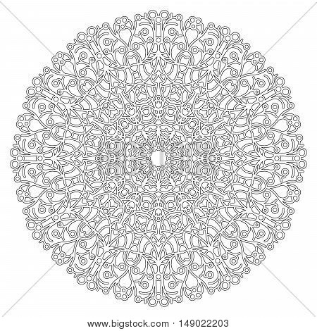 vector black and white round geometric lacy mandala - adult coloring book page
