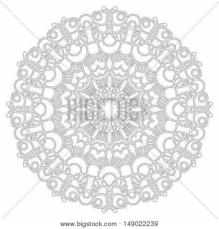 vector black and white round geometric spring mandala with butterflies - adult coloring book page