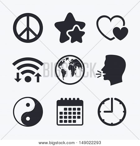 World globe icon. Ying yang sign. Hearts love sign. Peace hope. Harmony and balance symbol. Wifi internet, favorite stars, calendar and clock. Talking head. Vector