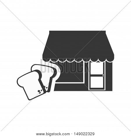 store bakery commerce building with loaf slices icon silhouette. vector illustration