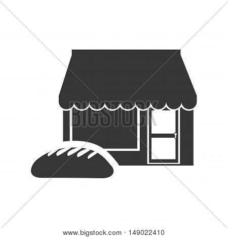 bread bakery food product with store icon silhouette. vector illustration
