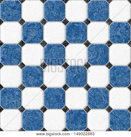 blue and white marble square floor tiles with black rhombs and gray gap - seamless pattern texture background