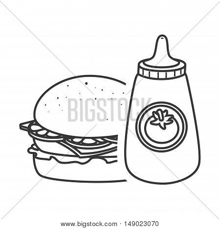american burger fast food and ketchup sauce icon silhouette. vector illustration