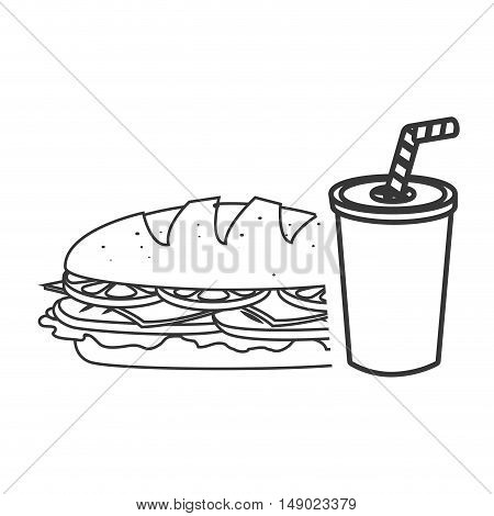 sandwich fast food with soda drink icon silhouette. vector illustration