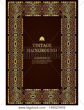 Vector luxury vintage border in the baroque style with gold floral pattern frame. The template for the book covers invitations greeting cards certificates.