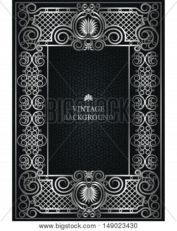 Vector Floral Vintage Frame as a template for the book covers design old pages photo frames invitations certificates cards. Victorian luxury ornamental design silver border on dark background.