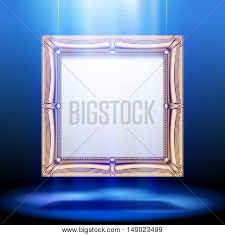 Gold classic square frame in blue light. Presentation sign design. Vector illustration