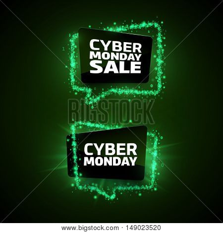 Set of Cyber Monday promotion banner templates. Green digital bubbles made of stars and numbers on a dark background.