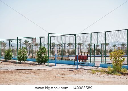 Tennis Court On Sand Of Egypt At Sunny Day