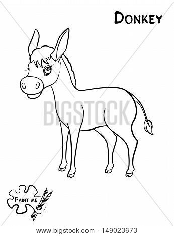 Children's coloring book that says Paint me. Donkey