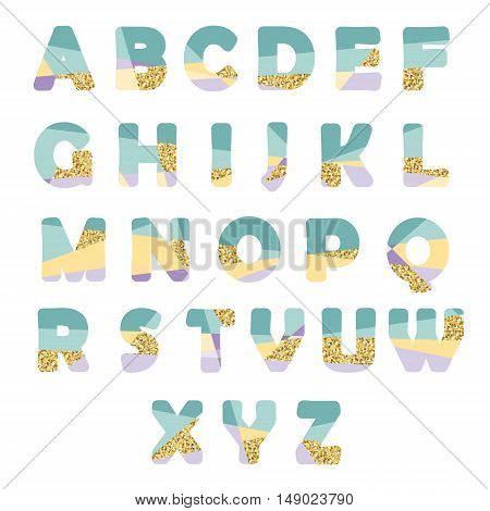 Modern abstract font with glitter. Bright ABC letters can be used for sale party shop present header brochure.