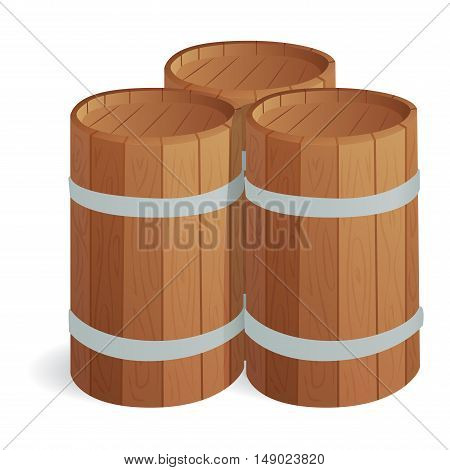 Wooden barrel vintage old style wooden barrels oak storage container.