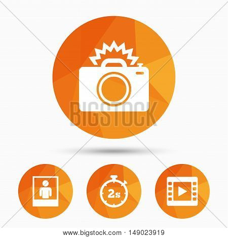 Photo camera icon. Flash light and video frame symbols. Stopwatch timer 2 seconds sign. Human portrait photo frame. Triangular low poly buttons with shadow. Vector