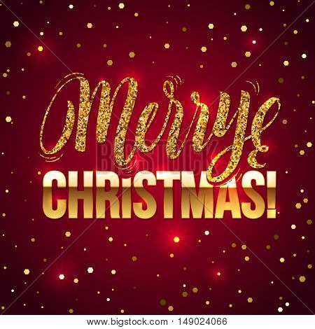 Christmas card Gold sparkles on white background. Gold glitter and Calligraphy Background. Greeting Card X-MAS.