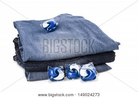Capsule gel for washing jeans stack isolated