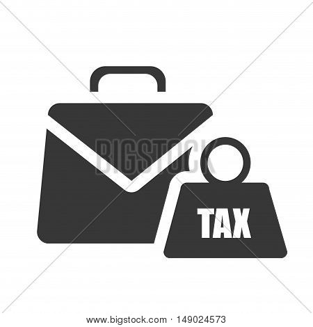 business briefcase accessory with tax dumbbells icon silhoutte. vector illustration