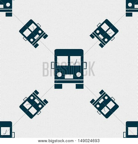 Truck Icon Sign. Seamless Pattern With Geometric Texture. Vector