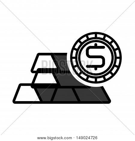gold bars block with money coin icon silhouette. vector illustration