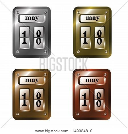 Icons, metal calendar, vector illustration for web design and printing