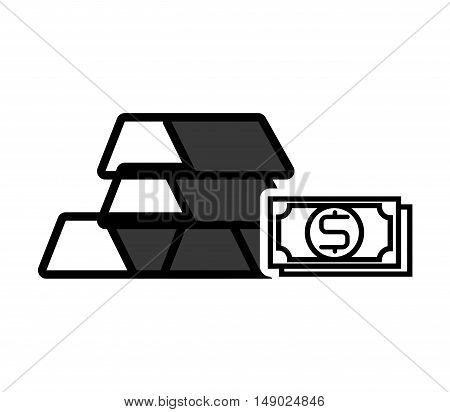 gold bars block with money bill icon silhouette. vector illustration